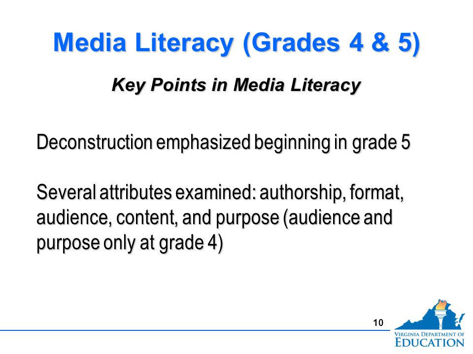 10 Media Literacy (Grades 4 & 5) Deconstruction emphasized beginning in grade 5 Several attributes examined: authorship, format, audience, content, and purpose (audience and purpose only at grade 4) Key Points in Media Literacy
