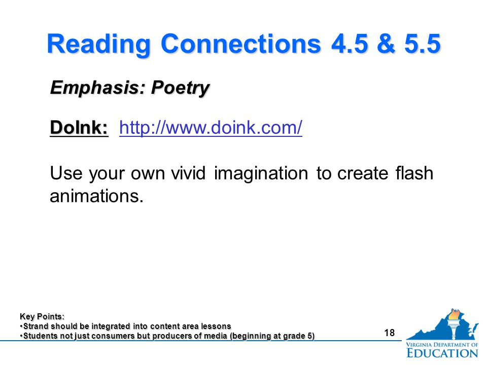 18 Reading Connections 4.5 & 5.5 Emphasis: Poetry DoInk: DoInk: http://www.doink.com/http://www.doink.com/ Use your own vivid imagination to create flash animations.