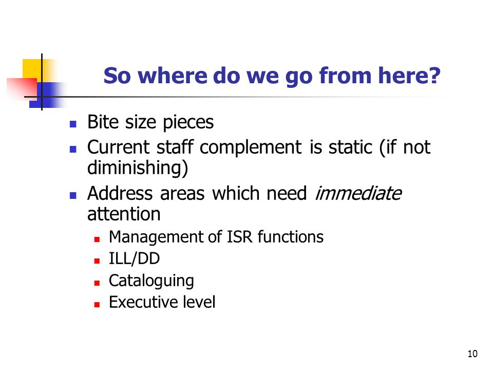 10 So where do we go from here? Bite size pieces Current staff complement is static (if not diminishing) Address areas which need immediate attention