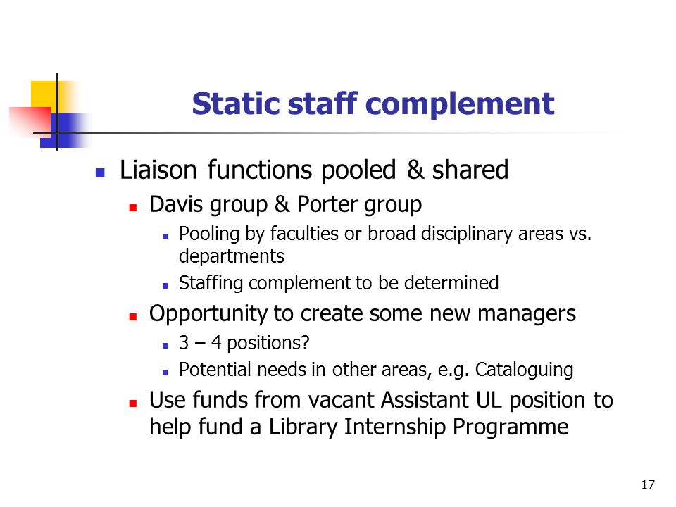 17 Static staff complement Liaison functions pooled & shared Davis group & Porter group Pooling by faculties or broad disciplinary areas vs. departmen