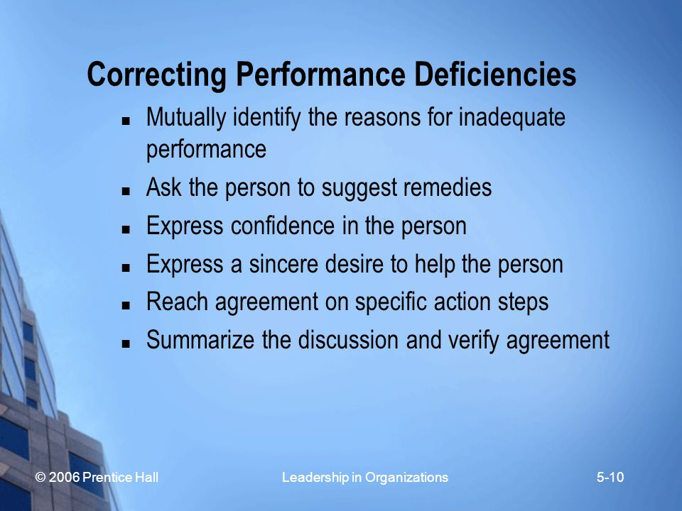 © 2006 Prentice Hall Leadership in Organizations5-10 Correcting Performance Deficiencies Mutually identify the reasons for inadequate performance Ask