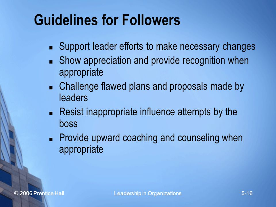 © 2006 Prentice Hall Leadership in Organizations5-16 Guidelines for Followers Support leader efforts to make necessary changes Show appreciation and p
