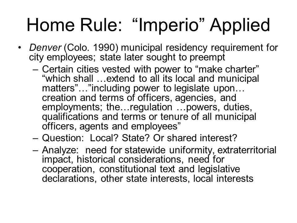 Home Rule: Imperio Applied Denver (Colo.