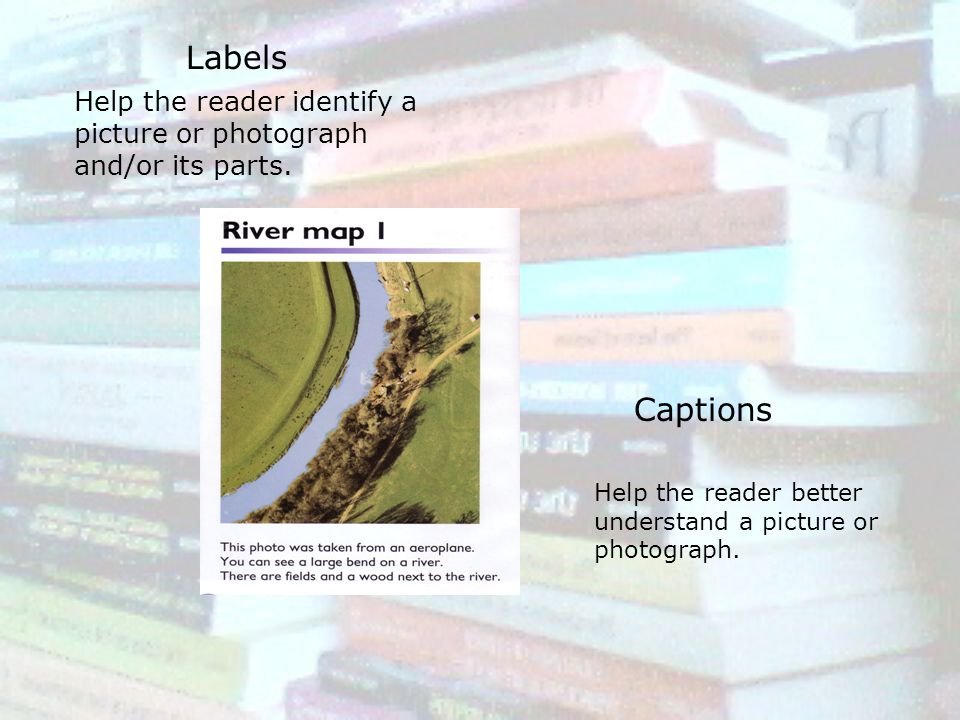 Labels Captions Help the reader identify a picture or photograph and/or its parts. Help the reader better understand a picture or photograph.