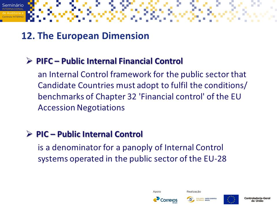 12. The European Dimension  PIFC – Public Internal Financial Control an Internal Control framework for the public sector that Candidate Countries mus