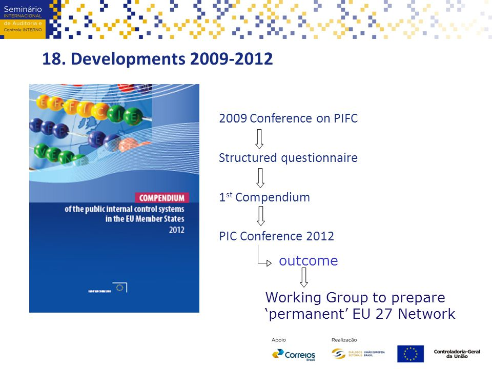 18. Developments 2009-2012 2009 Conference on PIFC Structured questionnaire 1 st Compendium PIC Conference 2012 outcome Working Group to prepare 'perm