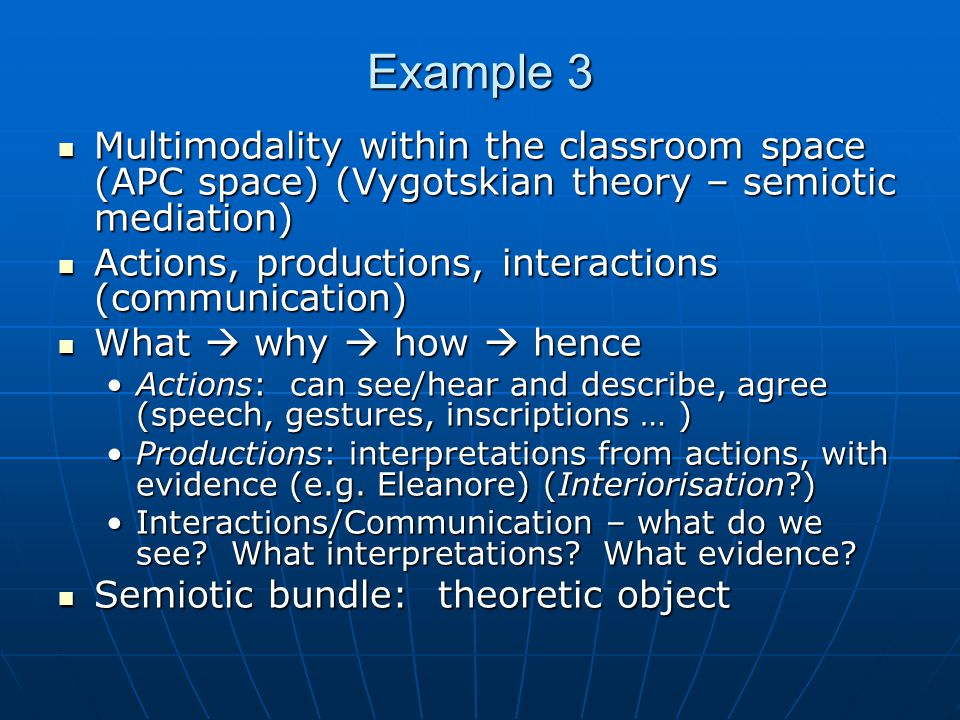 Example 3 Multimodality within the classroom space (APC space) (Vygotskian theory – semiotic mediation) Multimodality within the classroom space (APC