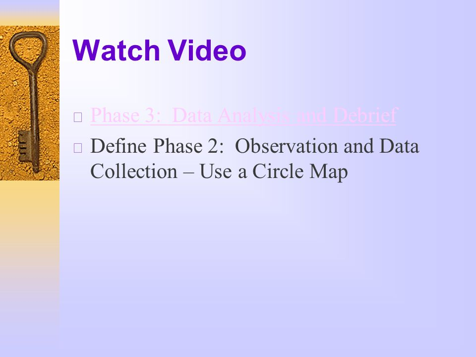 Watch Video  Phase 3: Data Analysis and Debrief Phase 3: Data Analysis and Debrief  Define Phase 2: Observation and Data Collection – Use a Circle Map