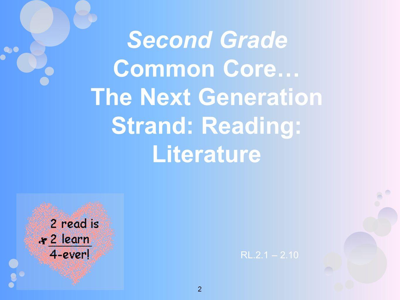 Second Grade Common Core… The Next Generation Strand: Reading: Literature RL.2.1 – 2.10 2