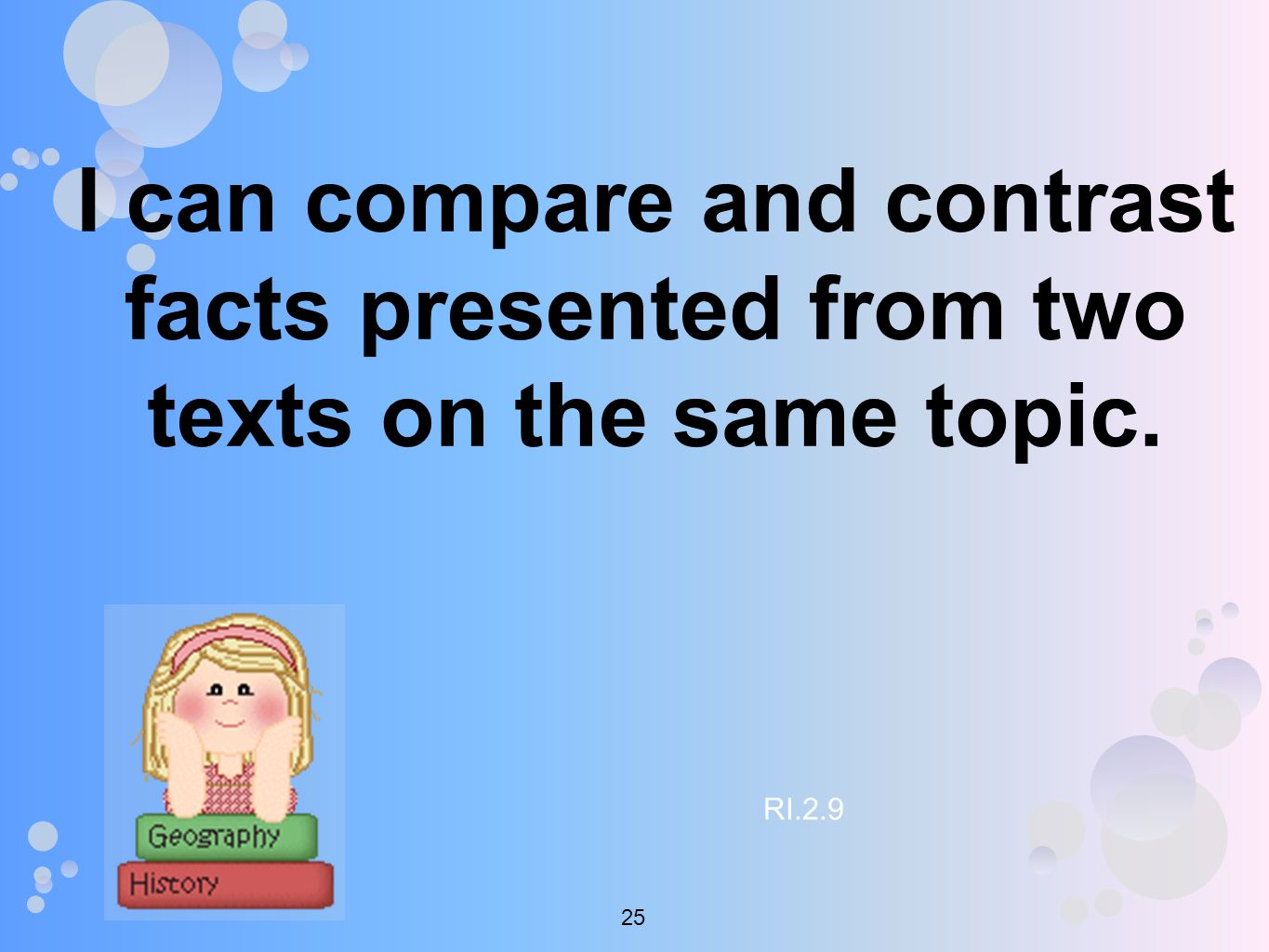 I can compare and contrast facts presented from two texts on the same topic. RI