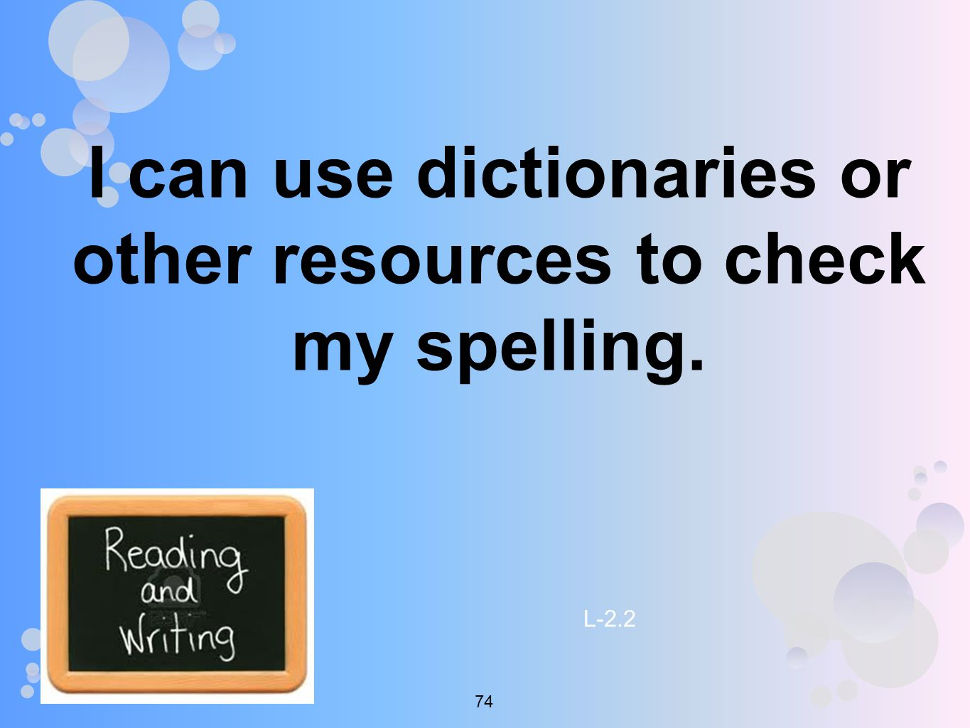 I can use dictionaries or other resources to check my spelling. L