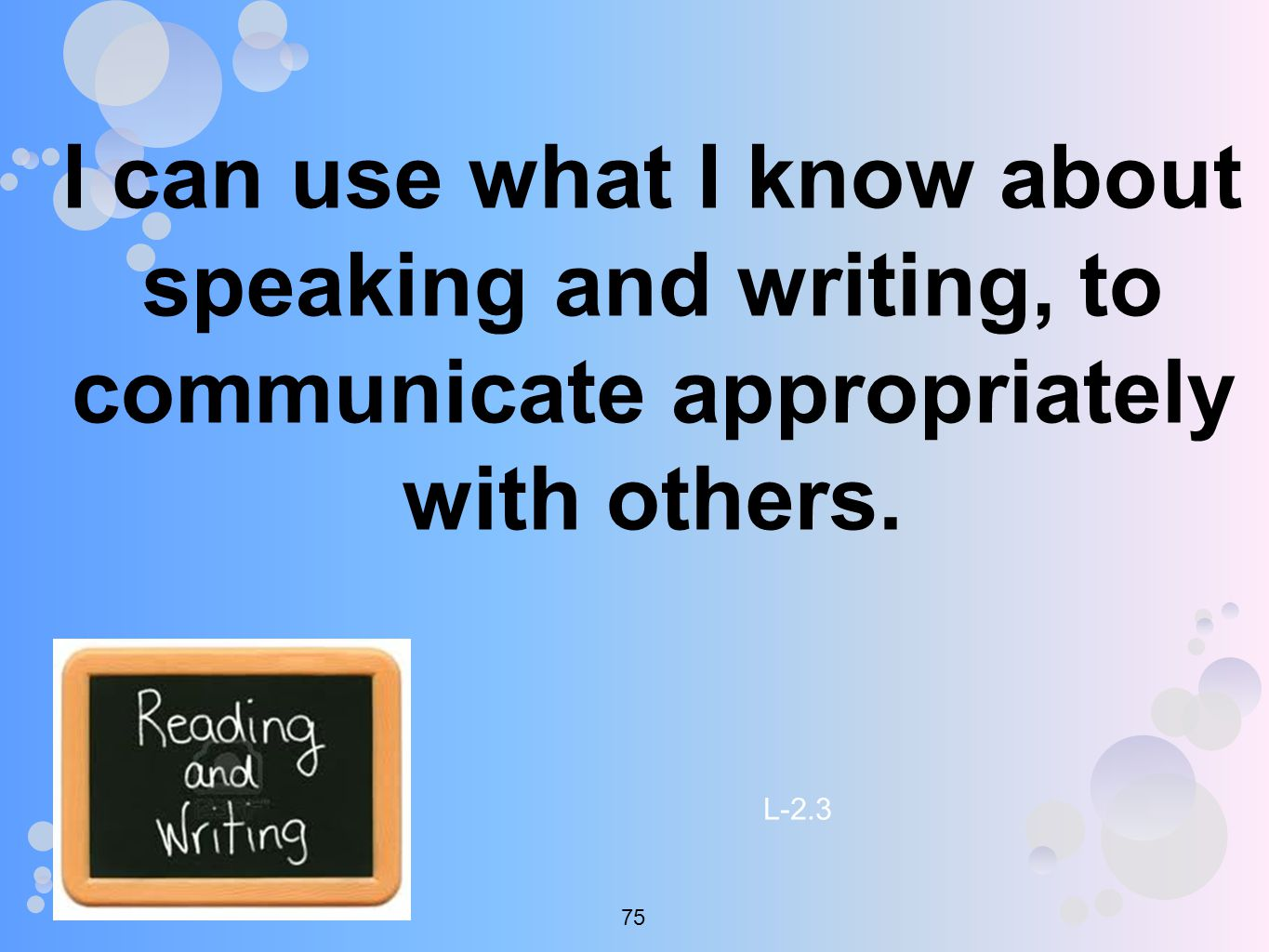 I can use what I know about speaking and writing, to communicate appropriately with others.