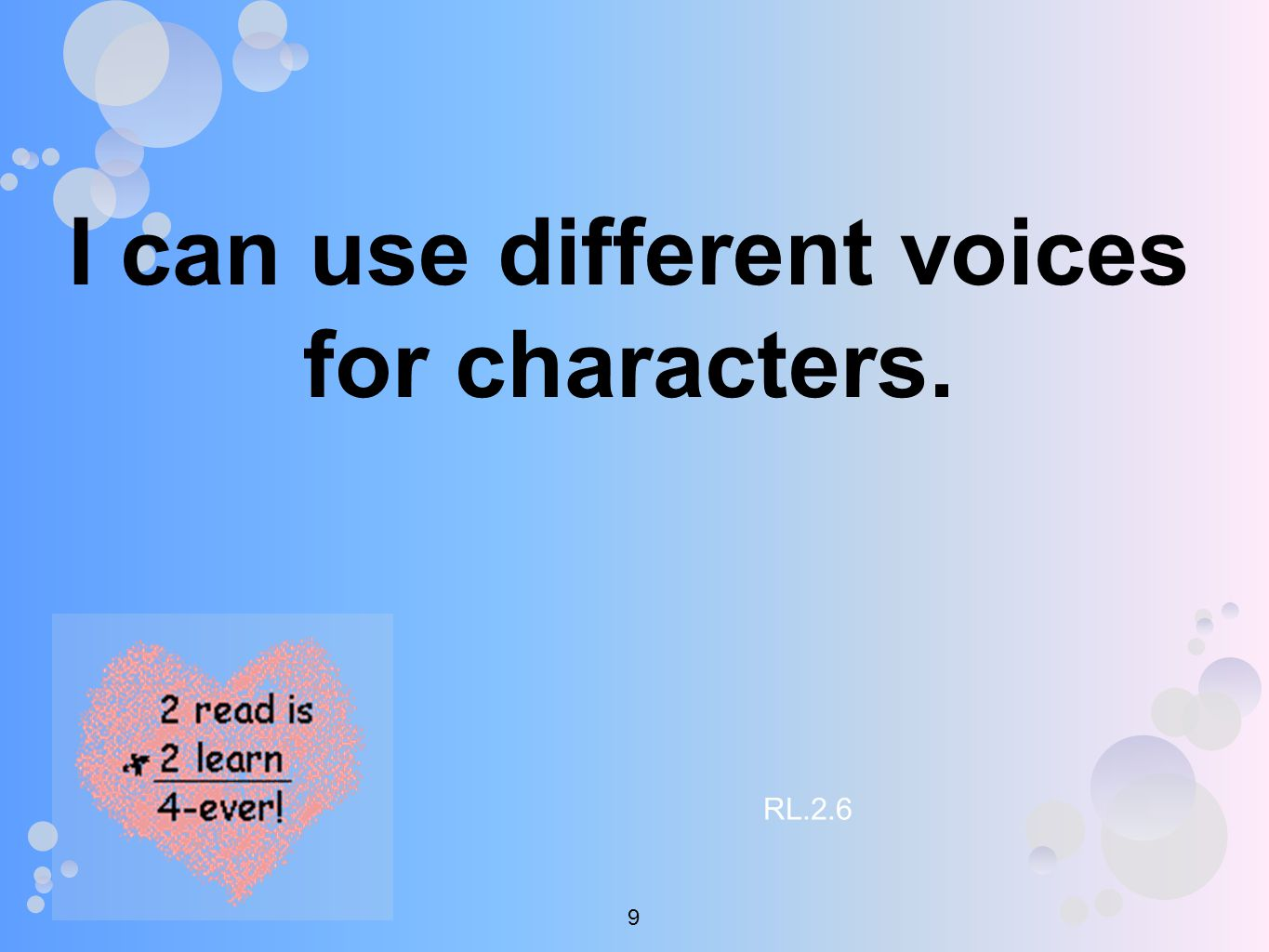 I can use different voices for characters. RL.2.6 9