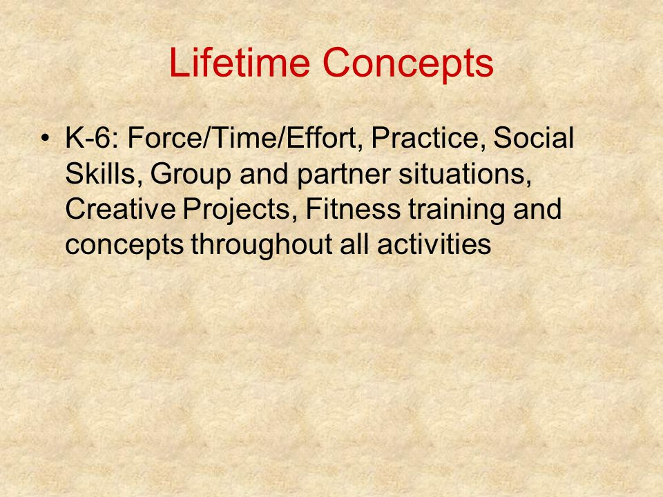 Lifetime Concepts K-6: Force/Time/Effort, Practice, Social Skills, Group and partner situations, Creative Projects, Fitness training and concepts throughout all activities