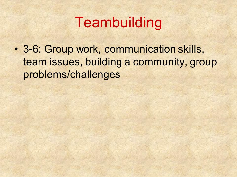 Teambuilding 3-6: Group work, communication skills, team issues, building a community, group problems/challenges