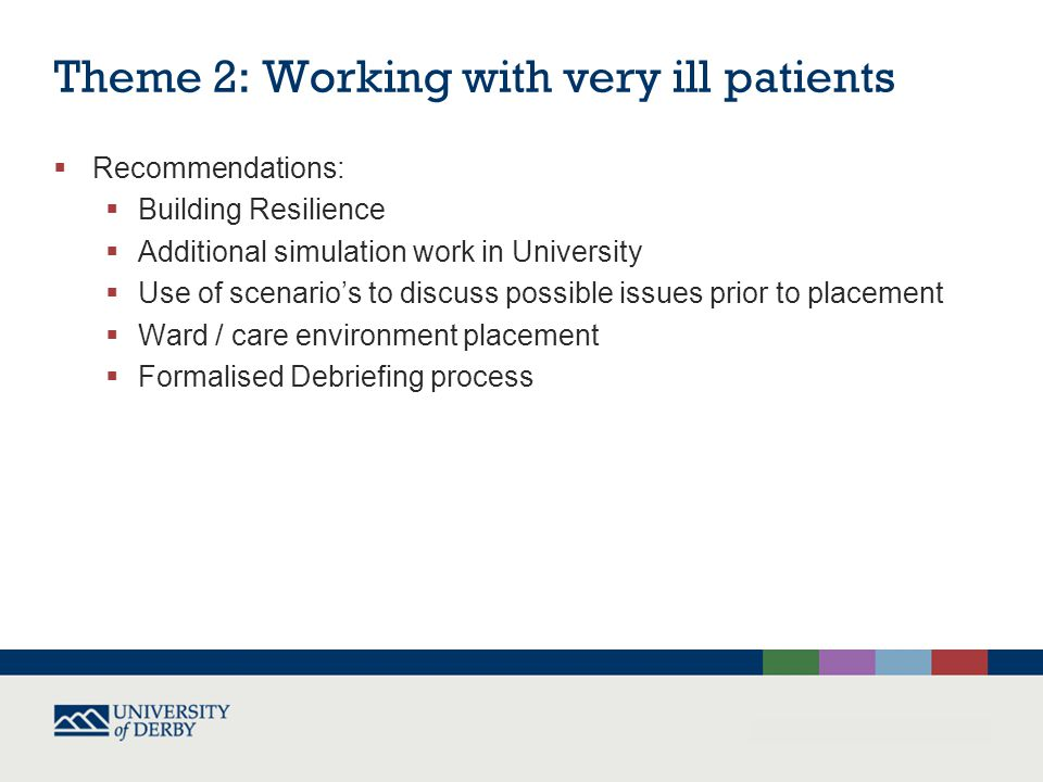 Theme 2: Working with very ill patients  Recommendations:  Building Resilience  Additional simulation work in University  Use of scenario's to discuss possible issues prior to placement  Ward / care environment placement  Formalised Debriefing process