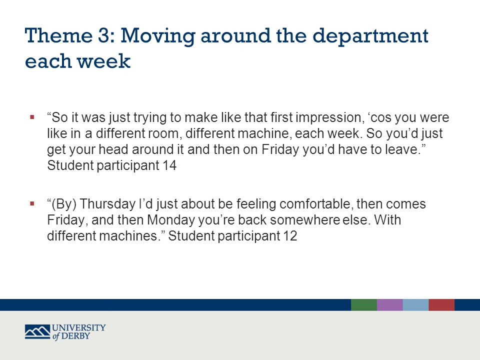 Theme 3: Moving around the department each week  So it was just trying to make like that first impression, 'cos you were like in a different room, different machine, each week.