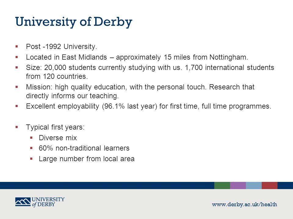 University of Derby  Post -1992 University.