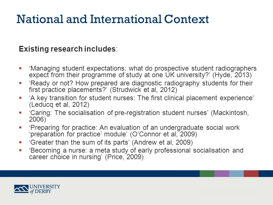 National and International Context Government and professional policy includes:  What Works.