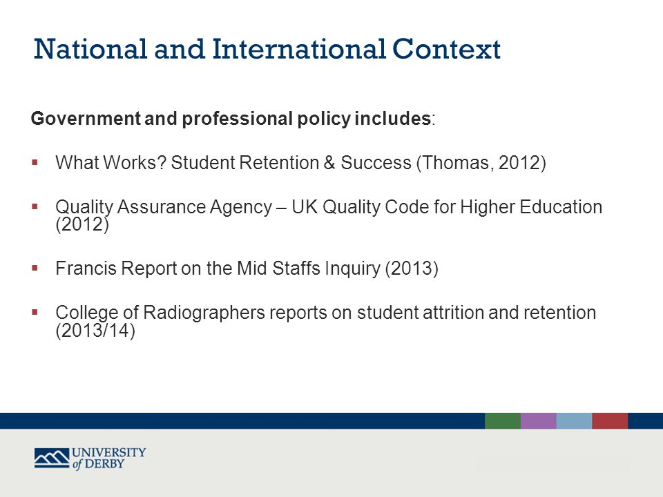 National and International Context Government and professional policy includes:  What Works.