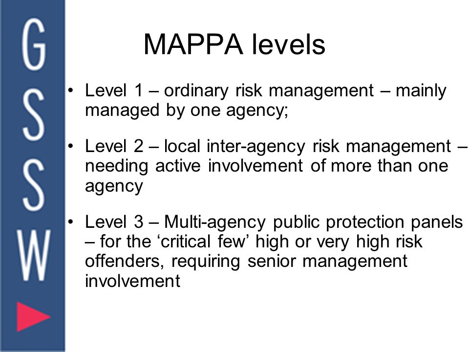 MAPPA levels Level 1 – ordinary risk management – mainly managed by one agency; Level 2 – local inter-agency risk management – needing active involvement of more than one agency Level 3 – Multi-agency public protection panels – for the 'critical few' high or very high risk offenders, requiring senior management involvement