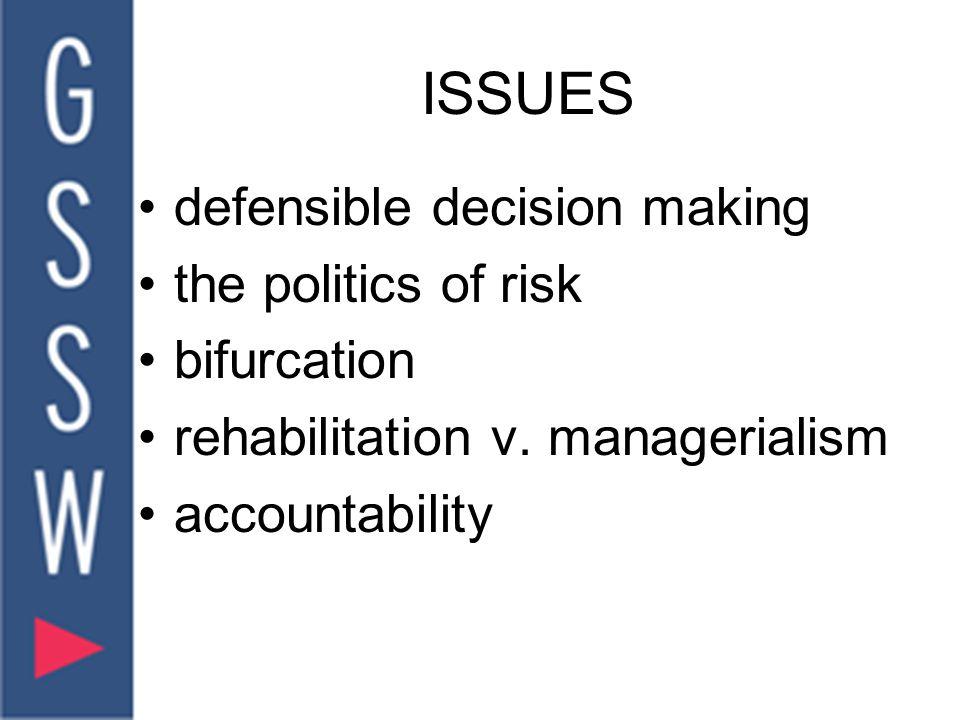 ISSUES defensible decision making the politics of risk bifurcation rehabilitation v.
