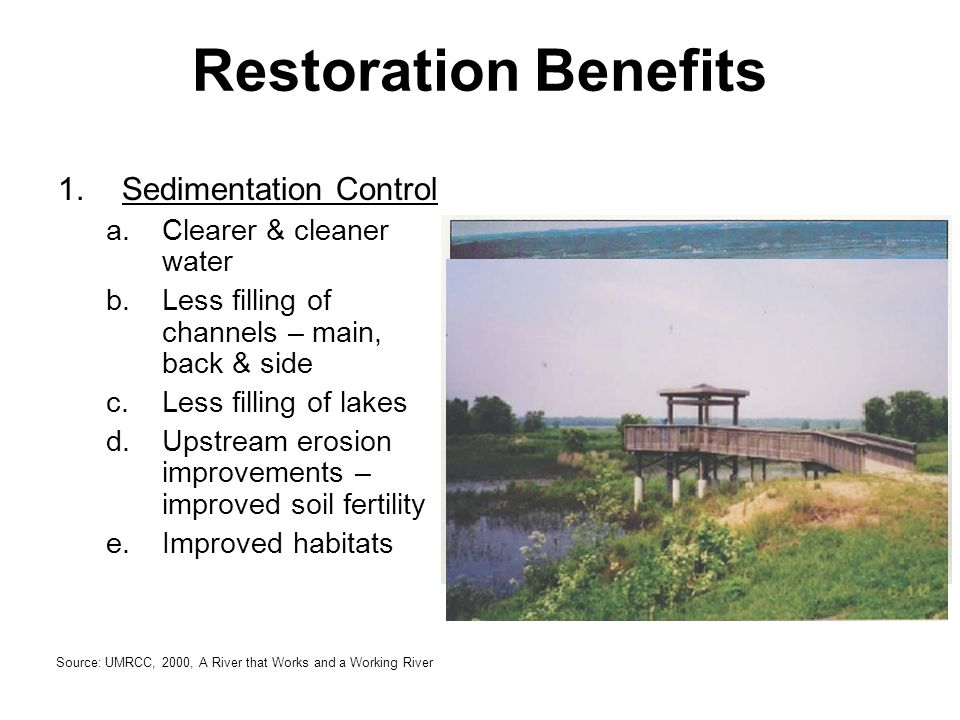 Restoration Benefits 1.Sedimentation Control a.Clearer & cleaner water b.Less filling of channels – main, back & side c.Less filling of lakes d.Upstre