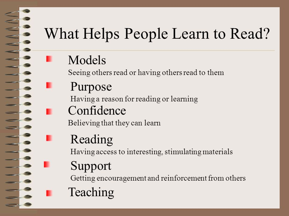 What Helps People Learn to Read.