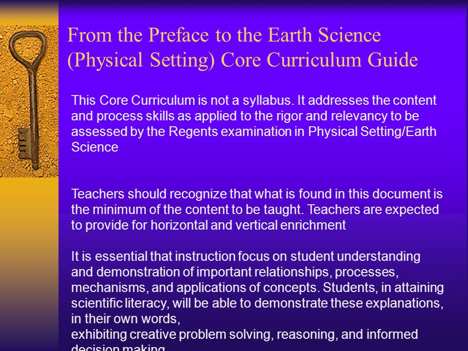 This Core Curriculum is not a syllabus.