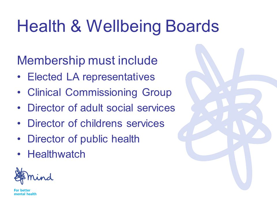 Health & Wellbeing Boards Membership must include Elected LA representatives Clinical Commissioning Group Director of adult social services Director of childrens services Director of public health Healthwatch