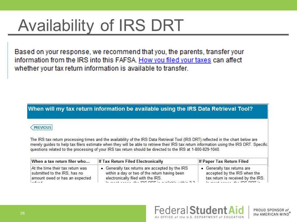 Availability of IRS DRT 26