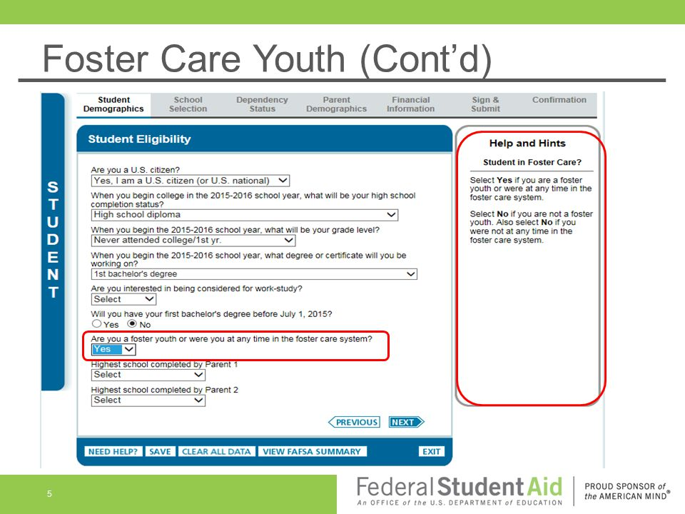 Foster Care Youth (Cont'd) 5