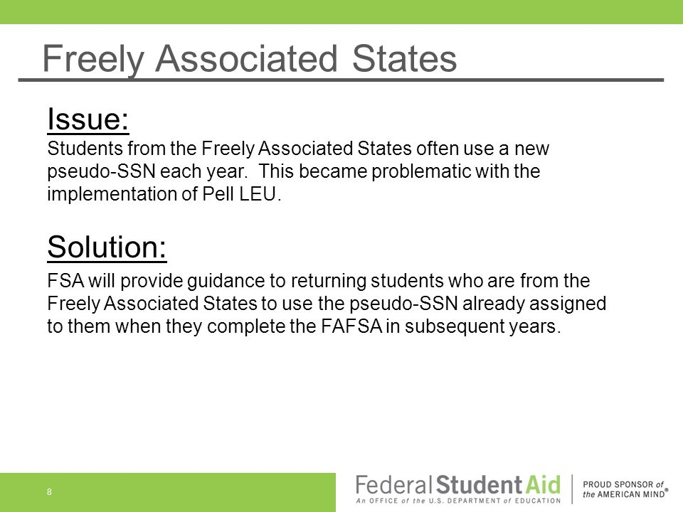 Freely Associated States (Cont'd) 9