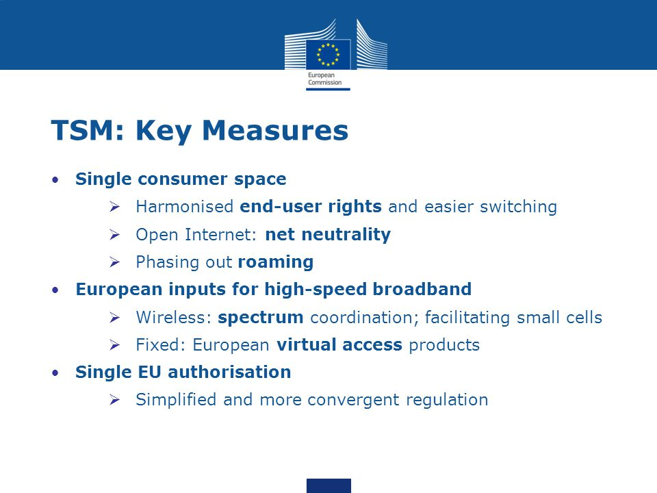 Single consumer space  Harmonised end-user rights and easier switching  Open Internet: net neutrality  Phasing out roaming European inputs for high-speed broadband  Wireless: spectrum coordination; facilitating small cells  Fixed: European virtual access products Single EU authorisation  Simplified and more convergent regulation TSM: Key Measures