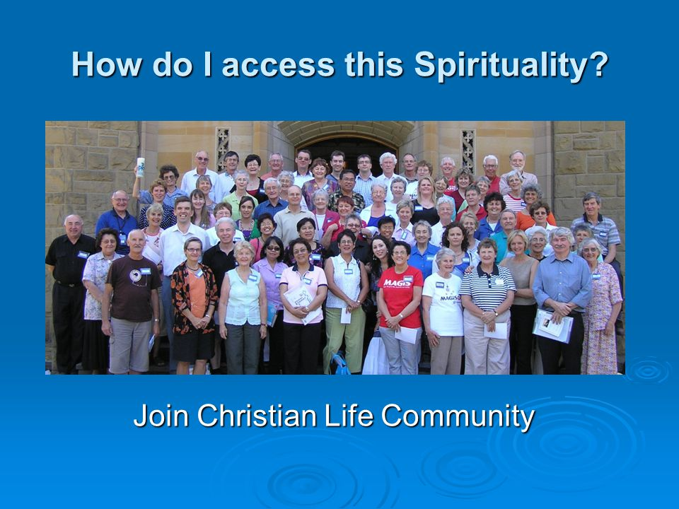 How do I access this Spirituality Join Christian Life Community