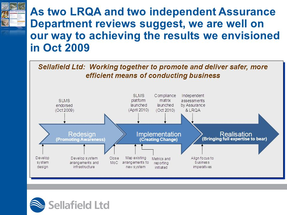 Sellafield Ltd: Working together to promote and deliver safer, more efficient means of conducting business (Promoting Awareness)(Creating Change) (Bringing full expertise to bear) As two LRQA and two independent Assurance Department reviews suggest, we are well on our way to achieving the results we envisioned in Oct 2009