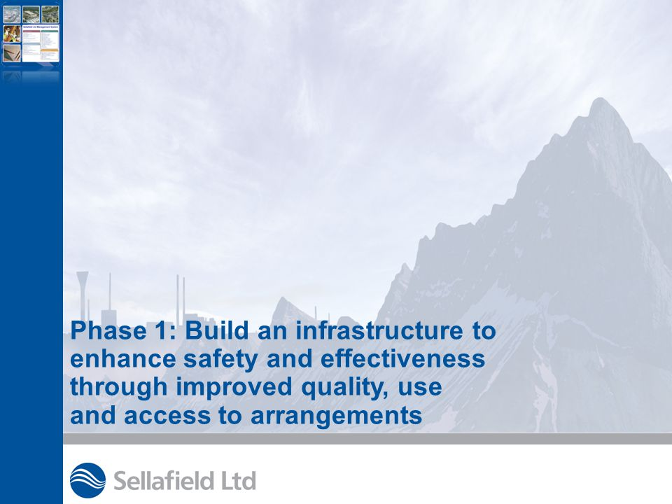 Phase 1: Build an infrastructure to enhance safety and effectiveness through improved quality, use and access to arrangements