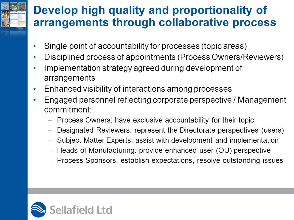Establish a document structure that clearly communicates (and delineates among) the 'how', 'what', and 'why' Policies & Charters Sellafield Ltd Practices ( How Do I? s) (SLPs) Manuals and Plans Sellafield Ltd Supporting Practices Compliance required of all personnel Local Working Documents Policies state executive level expectations.