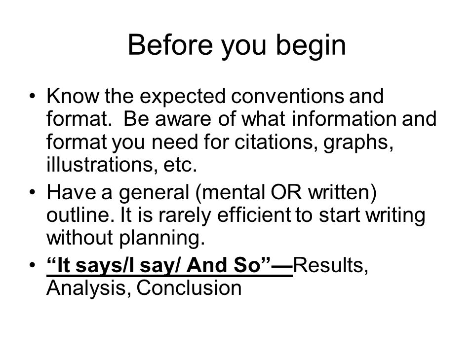 Before you begin Know the expected conventions and format.