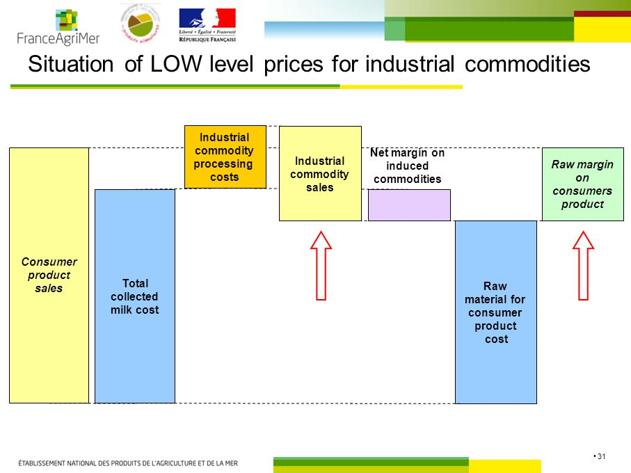31 Situation of LOW level prices for industrial commodities Consumer product sales Total collected milk cost Raw material for consumer product cost Raw margin on consumers product Industrial commodity processing costs Industrial commodity sales Net margin on induced commodities