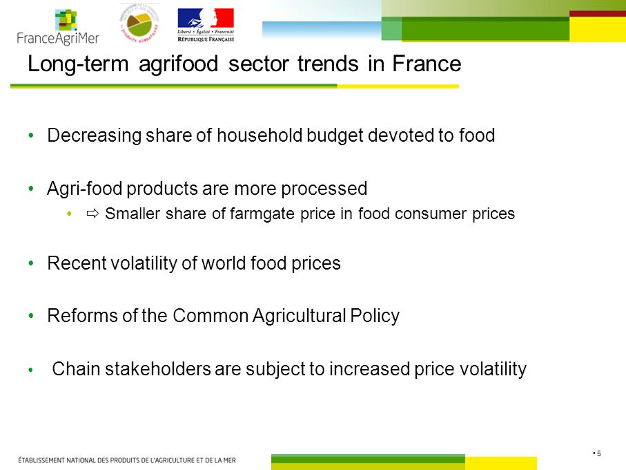 5 Long-term agrifood sector trends in France Decreasing share of household budget devoted to food Agri-food products are more processed  Smaller share of farmgate price in food consumer prices Recent volatility of world food prices Reforms of the Common Agricultural Policy Chain stakeholders are subject to increased price volatility