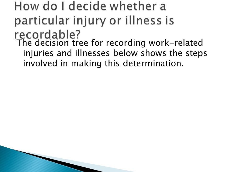 The decision tree for recording work-related injuries and illnesses below shows the steps involved in making this determination.