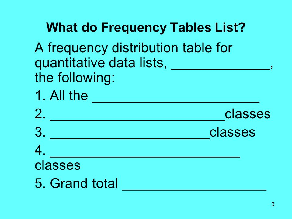 3 What do Frequency Tables List.