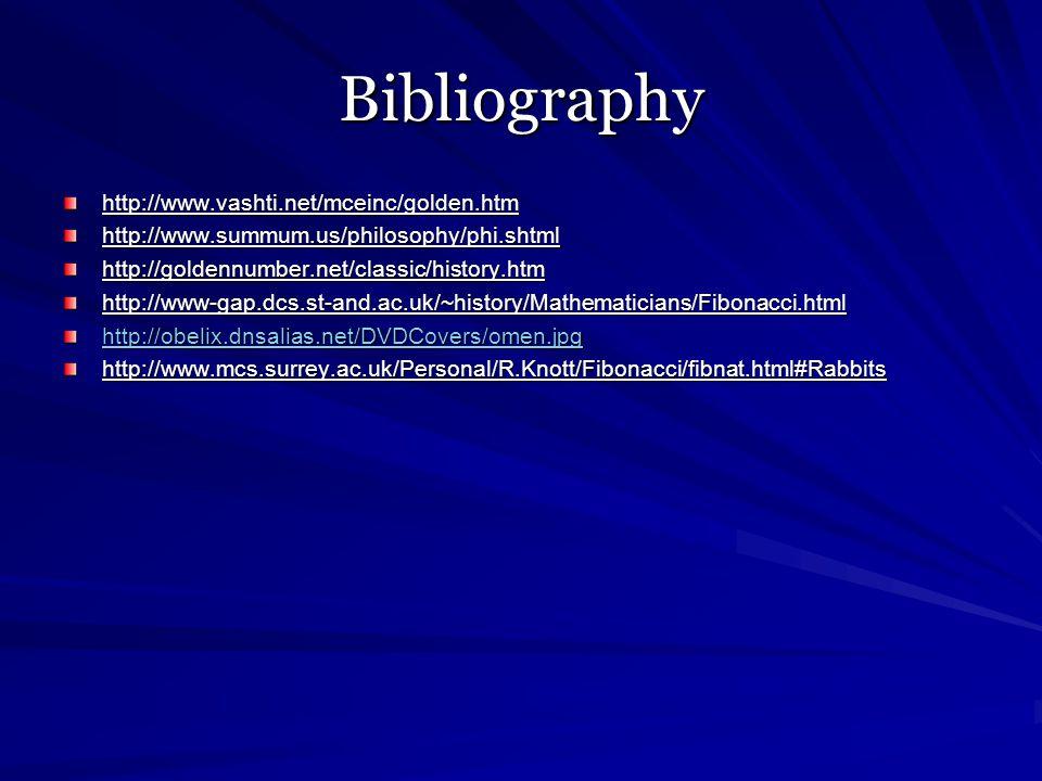 Bibliography http://www.vashti.net/mceinc/golden.htmhttp://www.summum.us/philosophy/phi.shtmlhttp://goldennumber.net/classic/history.htmhttp://www-gap.dcs.st-and.ac.uk/~history/Mathematicians/Fibonacci.html http://obelix.dnsalias.net/DVDCovers/omen.jpg http://www.mcs.surrey.ac.uk/Personal/R.Knott/Fibonacci/fibnat.html#Rabbits