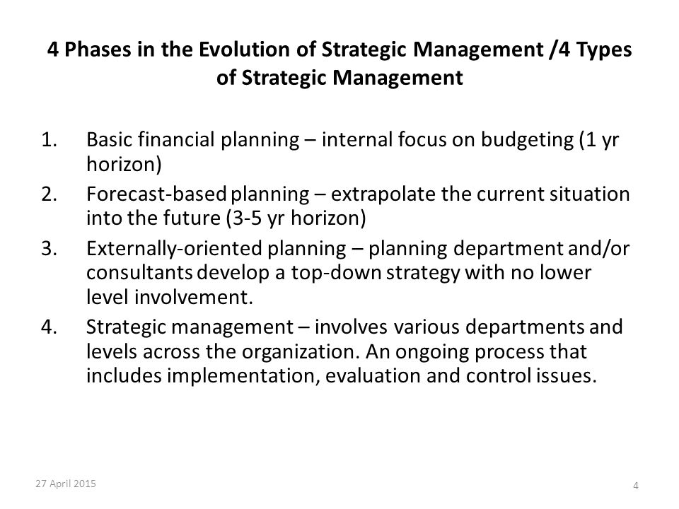 4 4 Phases in the Evolution of Strategic Management /4 Types of Strategic Management 1.Basic financial planning – internal focus on budgeting (1 yr ho