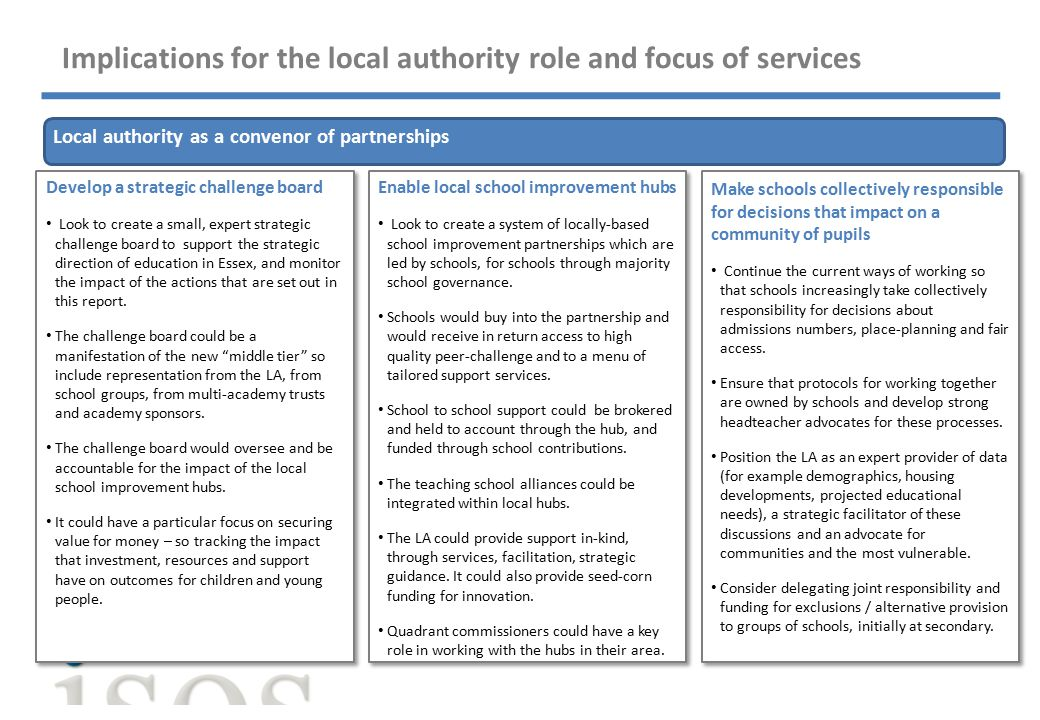 Implications for the local authority role and focus of services Local authority as a convenor of partnerships Develop a strategic challenge board Look to create a small, expert strategic challenge board to support the strategic direction of education in Essex, and monitor the impact of the actions that are set out in this report.