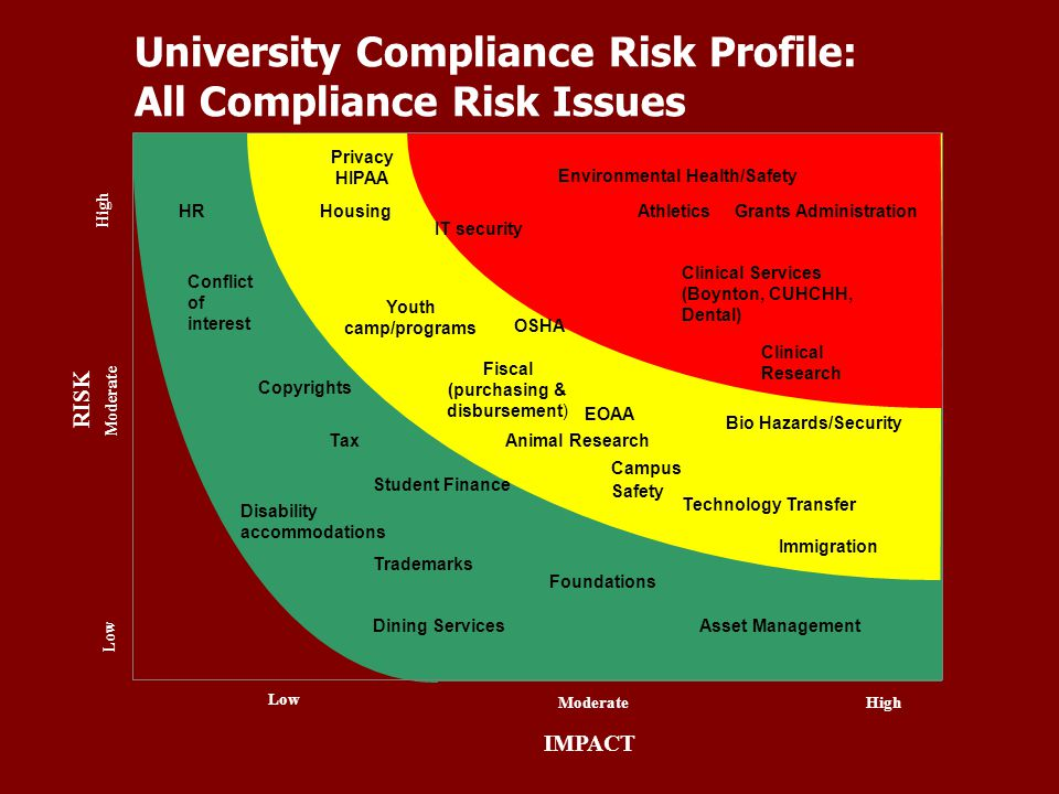University Compliance Risk Profile: All Compliance Risk Issues IMPACT High Moderate Low ModerateHigh Low RISK Environmental Health/Safety Clinical Ser