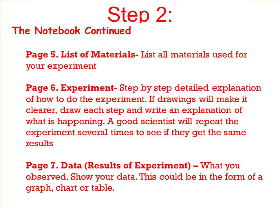 Step 2: The Notebook Continued Page 3.