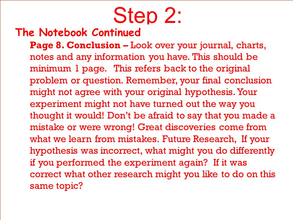 Step 2: The Notebook Continued Page 5.