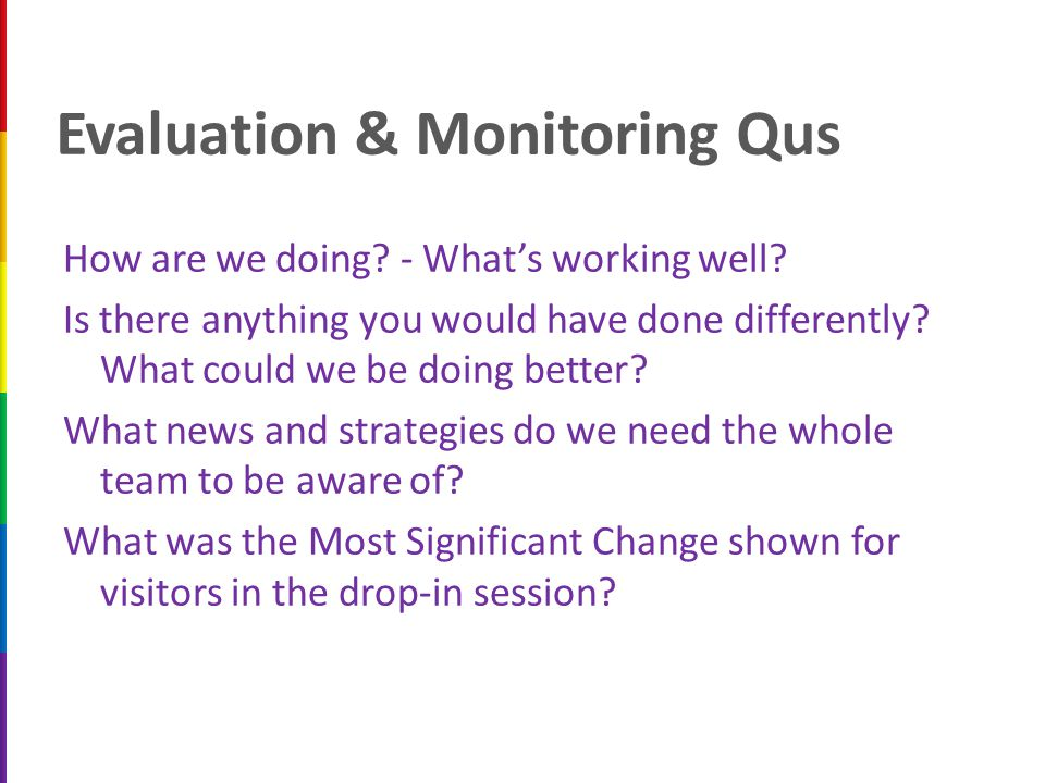 Evaluation & Monitoring Qus How are we doing.- What's working well.